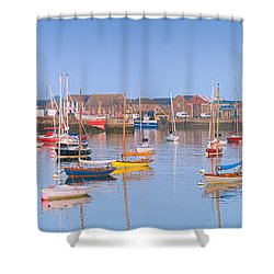 Fishing Boats In The Howth Marina Shower Curtain by Semmick Photo