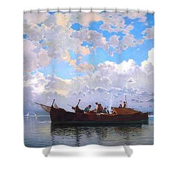 Fishing Boats On A Venetian Lagoon Shower Curtain by Pg Reproductions