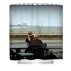 Fishing Buddies Shower Curtain by Kathy Barney