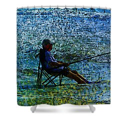 Fishing Shower Curtain by Claire Bull