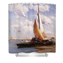 Fishing Craft With The Rivere Degli Schiavoni Venice Shower Curtain by E Aubrey Hunt