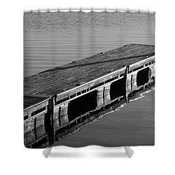 Fishing Dock Shower Curtain by Frozen in Time Fine Art Photography