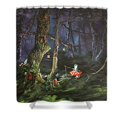 Fishing For Supper On Cannock Chase Shower Curtain by Jean Walker
