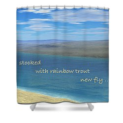 Shower Curtain featuring the digital art Fishing Haiga by Judi Suni Hall
