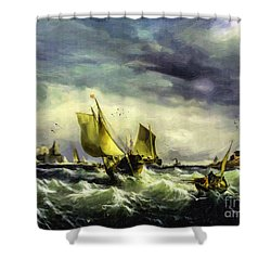 Shower Curtain featuring the digital art Fishing In High Water by Lianne Schneider
