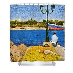 Fishing In Spetses Island Shower Curtain by George Atsametakis