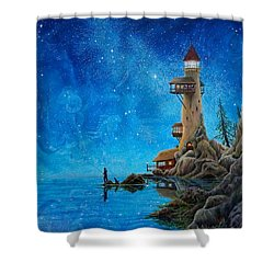 Shower Curtain featuring the painting Fishing by Matt Konar
