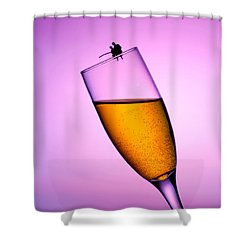 Fishing On A Cup Of Champange Little People On Food Shower Curtain by Paul Ge