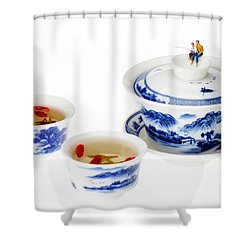 Fishing On Tea Cups Little People On Food Series Shower Curtain by Paul Ge