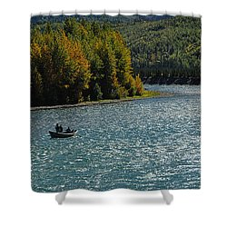 Fishing On The Kenai River Shower Curtain by Dyle   Warren