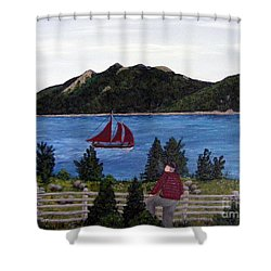 Shower Curtain featuring the painting Fishing Schooner by Barbara Griffin
