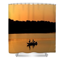 Shower Curtain featuring the photograph Fishing Silhouette  by Kathy  White