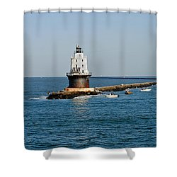 Fishing The Breakwater Shower Curtain by Skip Willits