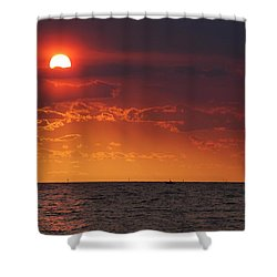 Fishing Till The Sun Goes Down Shower Curtain by Michael Thomas