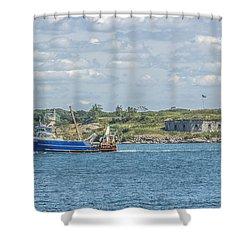 Shower Curtain featuring the photograph Fishing Trawler Coming Into Port by Jane Luxton