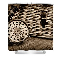 Fishing - Vintage Fly Fishing - Black And White Shower Curtain by Paul Ward