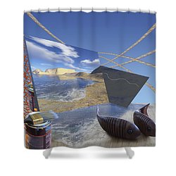 Fishing With Paint Shower Curtain by Jennifer Kathleen Phillips