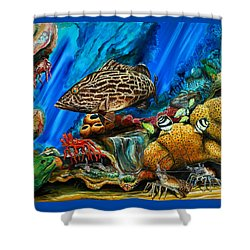 Shower Curtain featuring the painting Fishtank by Steve Ozment