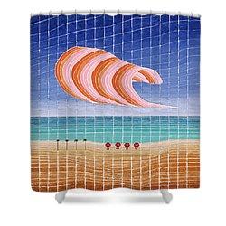 Five Beach Umbrellas Shower Curtain