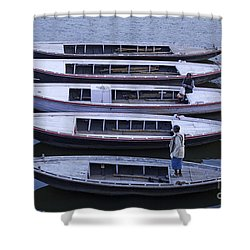 Five Boats On The Ganges Shower Curtain by Robert Preston