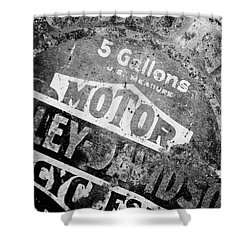 Shower Curtain featuring the photograph Five Gallon Motorcycle Oil Can by Wilma  Birdwell