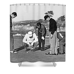 Five Golfers Looking At A Ball Shower Curtain