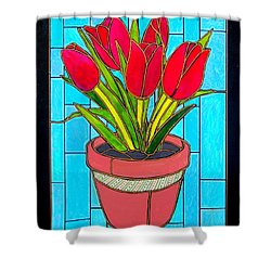 Five Red Tulips Shower Curtain