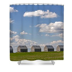 Five Sheds On The Alberta Prairie Shower Curtain by Louise Heusinkveld
