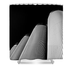 Five Silos In Black And White Shower Curtain