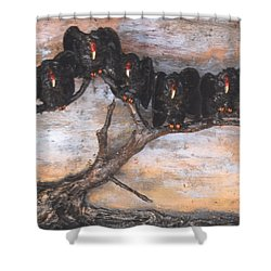 Five Vultures In Tree Shower Curtain