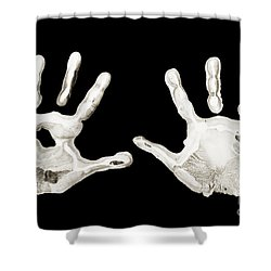 Five Years Old - Creative - Hands - First Painting Shower Curtain by Andee Design