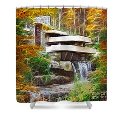 Fixer Upper - Square Version - Frank Lloyd Wright's Fallingwater Shower Curtain