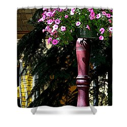 Flag And Flowers 6110 Pe Shower Curtain by Jerry Sodorff