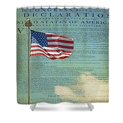 Flag - Declaration Of Independence -  Luther Fine Art Shower Curtain by Luther Fine Art