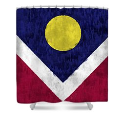 Flag Of Denver Shower Curtain by World Art Prints And Designs