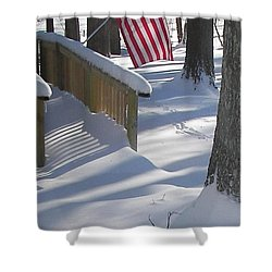 Flag Over Morning Snow Shower Curtain