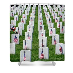 Shower Curtain featuring the photograph Flags Of Honor by Ed Weidman