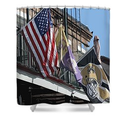 Flags On Bourbon Street Shower Curtain by Donna G Smith