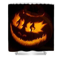 Flame Pumpkin Side Shower Curtain by Shawn Dall
