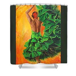 Shower Curtain featuring the painting Flamenco Dancer In Green Dress by Sheri  Chakamian