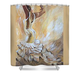 Shower Curtain featuring the painting Flamenco Dancer In White Dress by Sheri  Chakamian