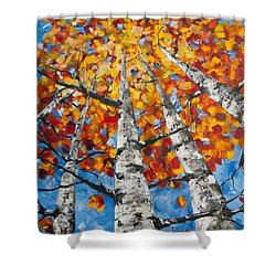 Shower Curtain featuring the painting Flaming Aspens by Melinda Cummings