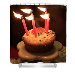Flaming Birthday Cupcake Closeup Shower Curtain by Robert D  Brozek