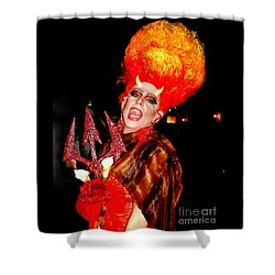 Halloween Flamming Devilish Deva Costume In The French Quarter Of New Orleans Shower Curtain