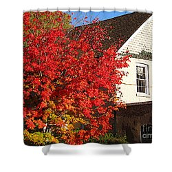 Shower Curtain featuring the photograph Flaming Fall Colours On Farm House by Nina Silver