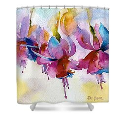 Flaming Fuchsias Shower Curtain by Pat Yager