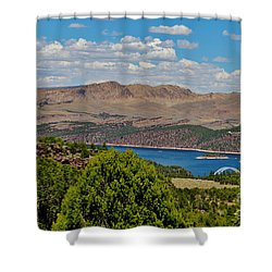 Shower Curtain featuring the photograph Flaming Gorge by Janice Rae Pariza