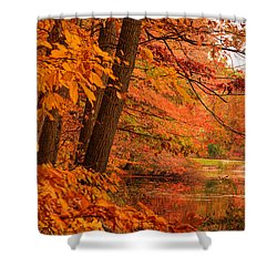 Flaming Leaves Shower Curtain by Lourry Legarde