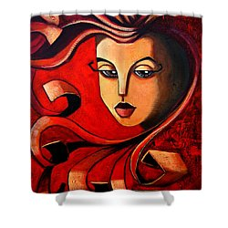 Flaming Serenity Shower Curtain by Oscar Ortiz