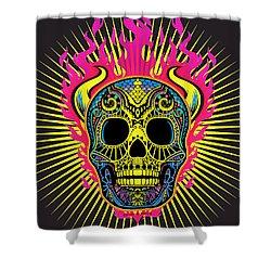 Flaming Skull Shower Curtain by Tony Rubino